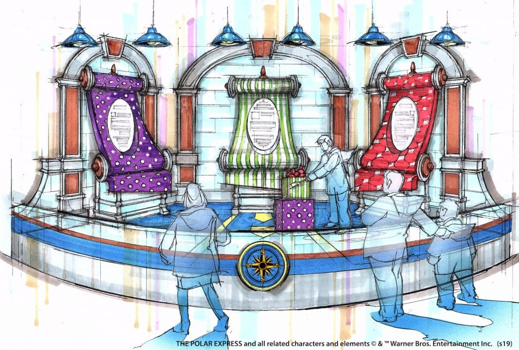 wrapping room the polar express ice 2019 gaylord palms rendering