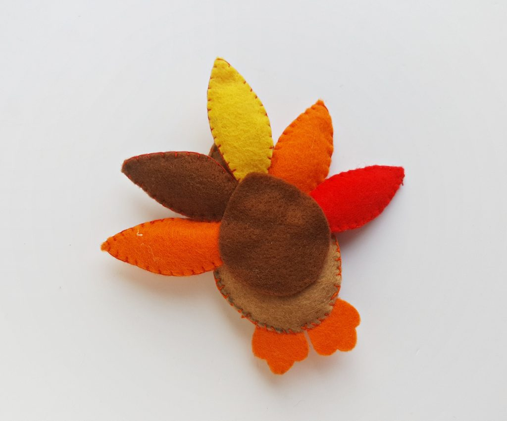 felt turkey plush craft with stuffed feathers
