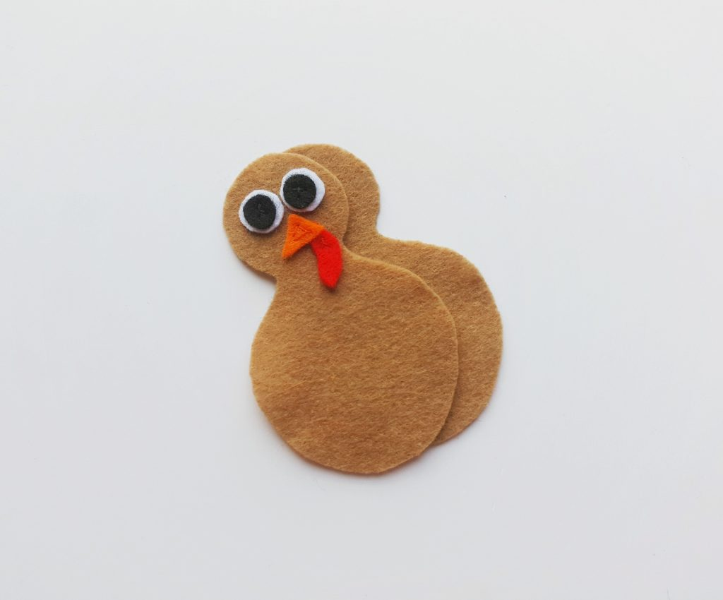 turkey craft felt pieces against white background
