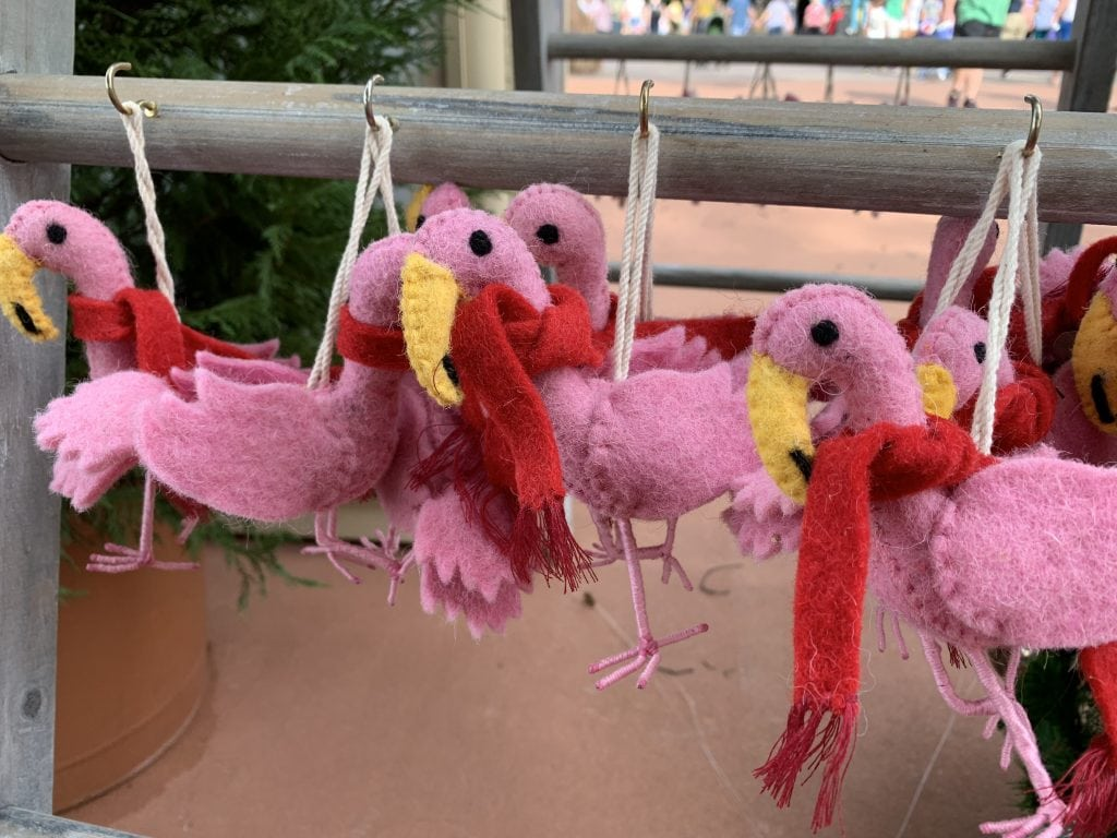 Flamingo with scarf ornaments
