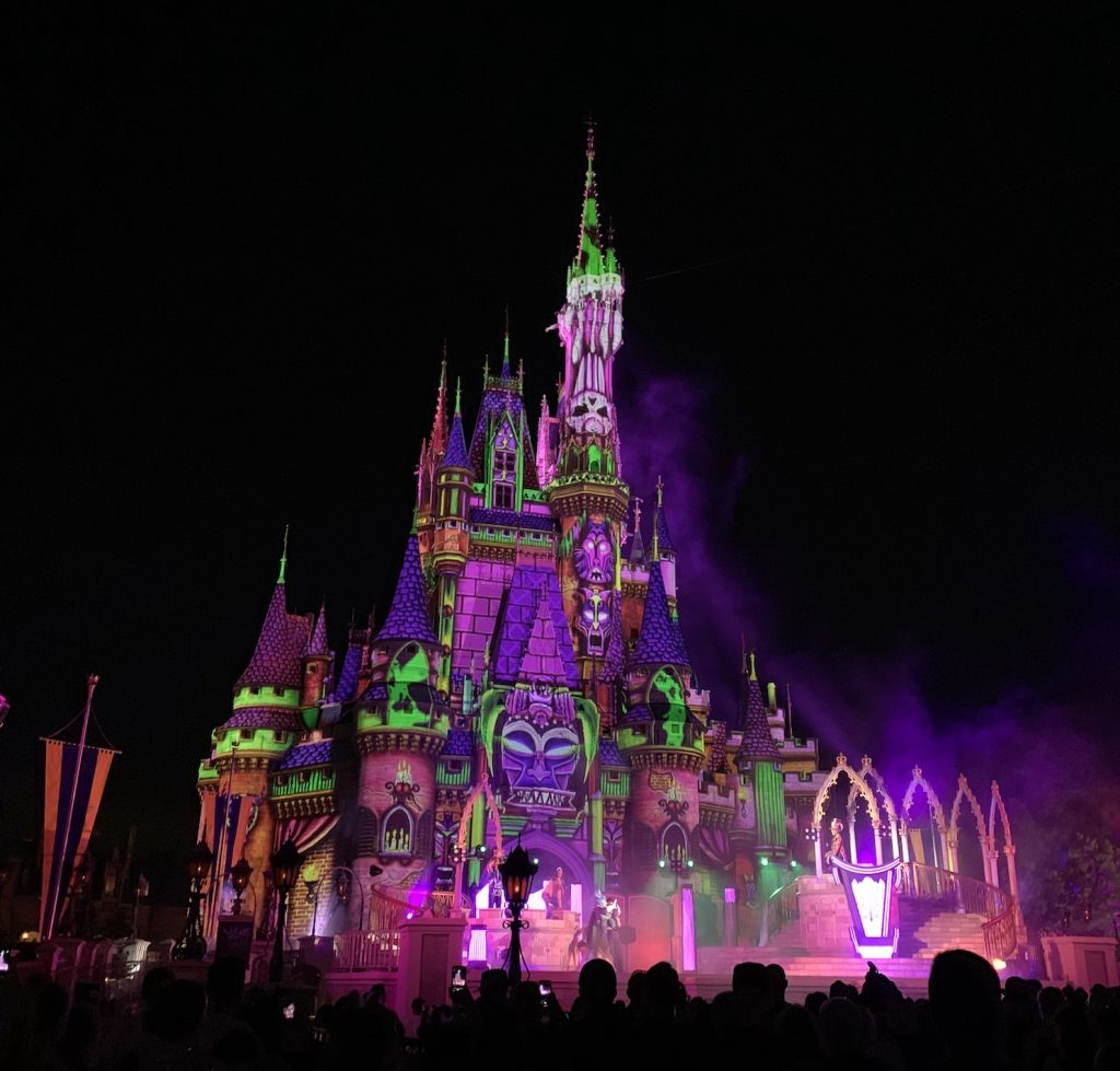 Villains after Hours stage show Cinderella castle