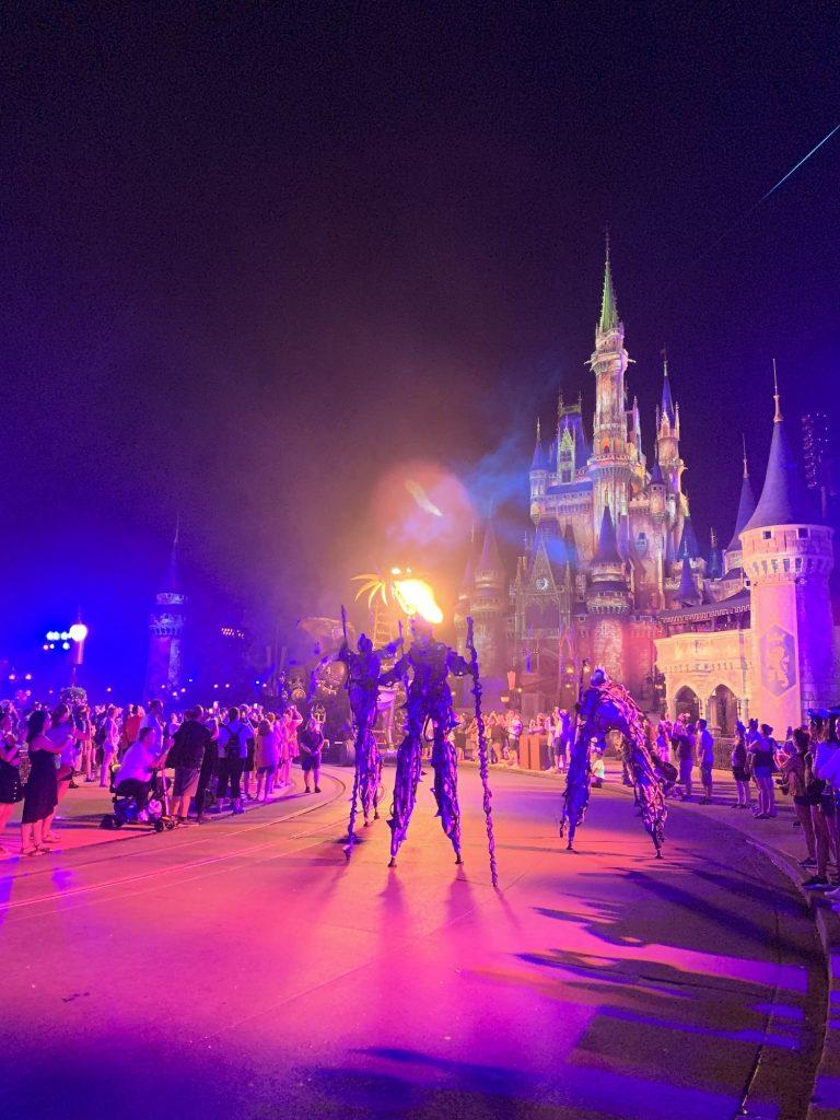 maleficent float at night magic kingdom