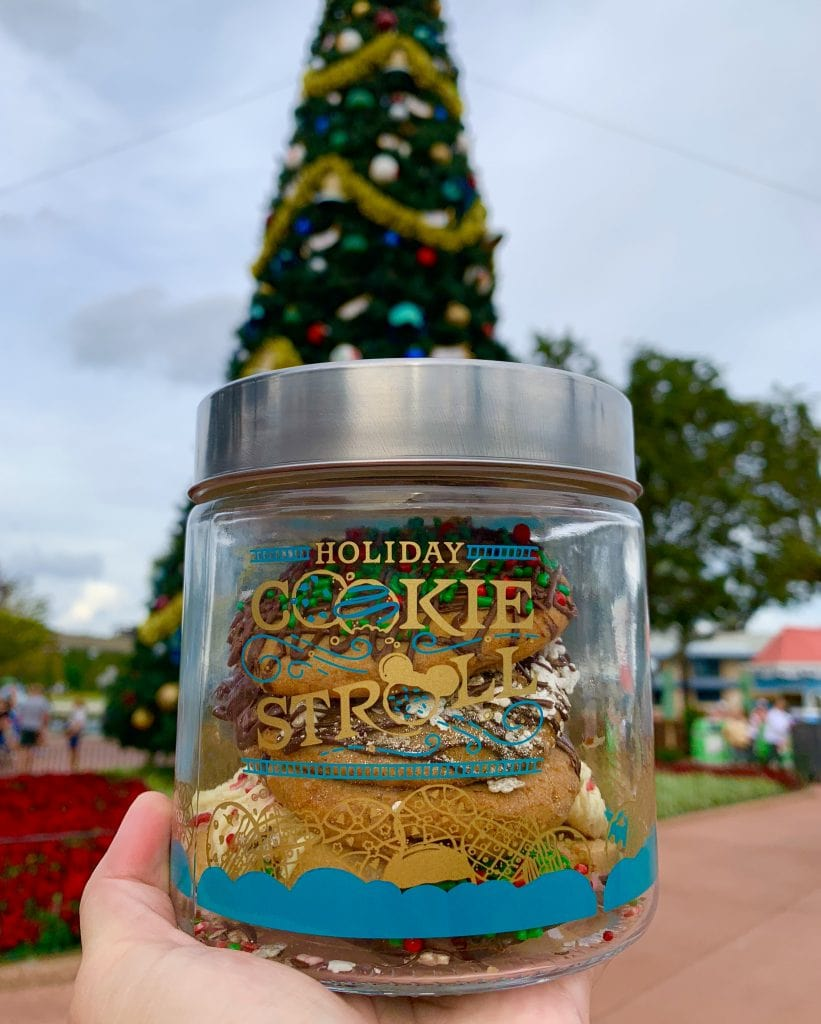 epcot holiday cookie stroll glass jar in front of Christmas tree