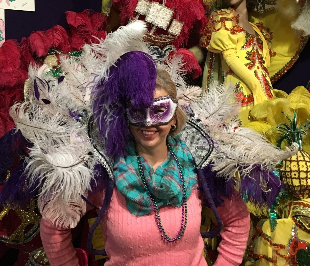 Kim in Mardi Gras Costume Lake Charles Museum