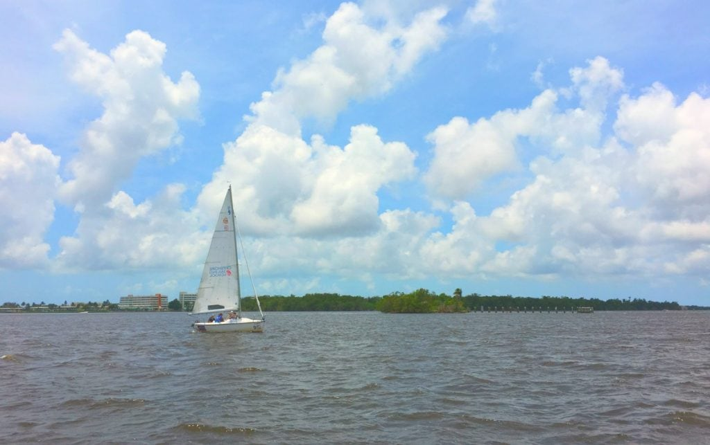 Offshore Sailing School Boat on water near Westin Cape Coral