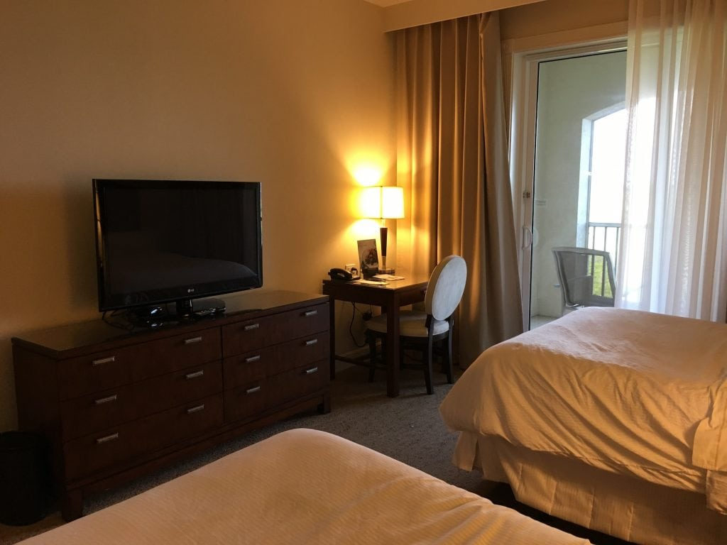 Westin Cape Coral hotel room interior with TV and desk