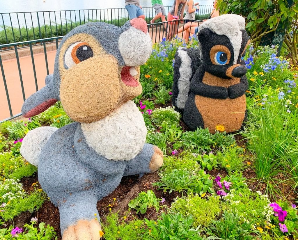 thumper and flower topiaries at Epcot flower and garden festival
