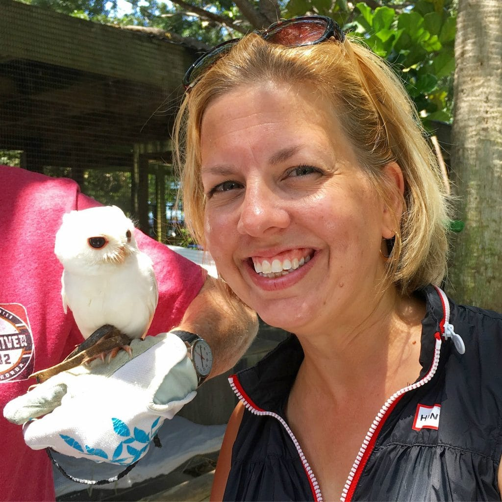 Kim with white rescued owl peace river wildlife center Punta Gorda fl
