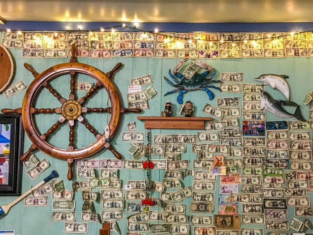 peace river seafood dollar bill wall Punta Gorda fl