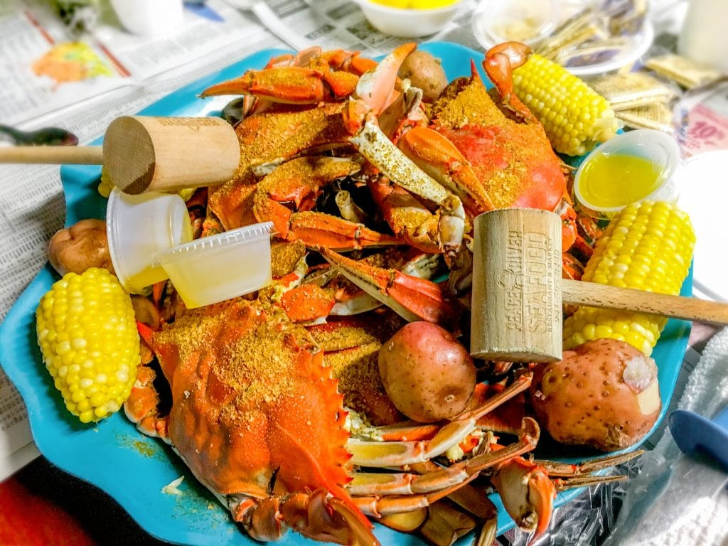crabs potatoes corn on the cob with wooden mallet peace river seafood Punta Gorda fl