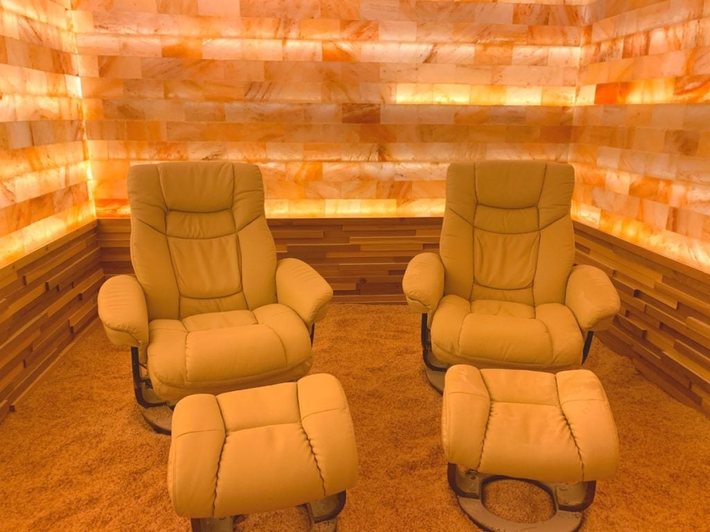two lounge chairs in a salt room Waldorf Astoria Orlando halotherapy