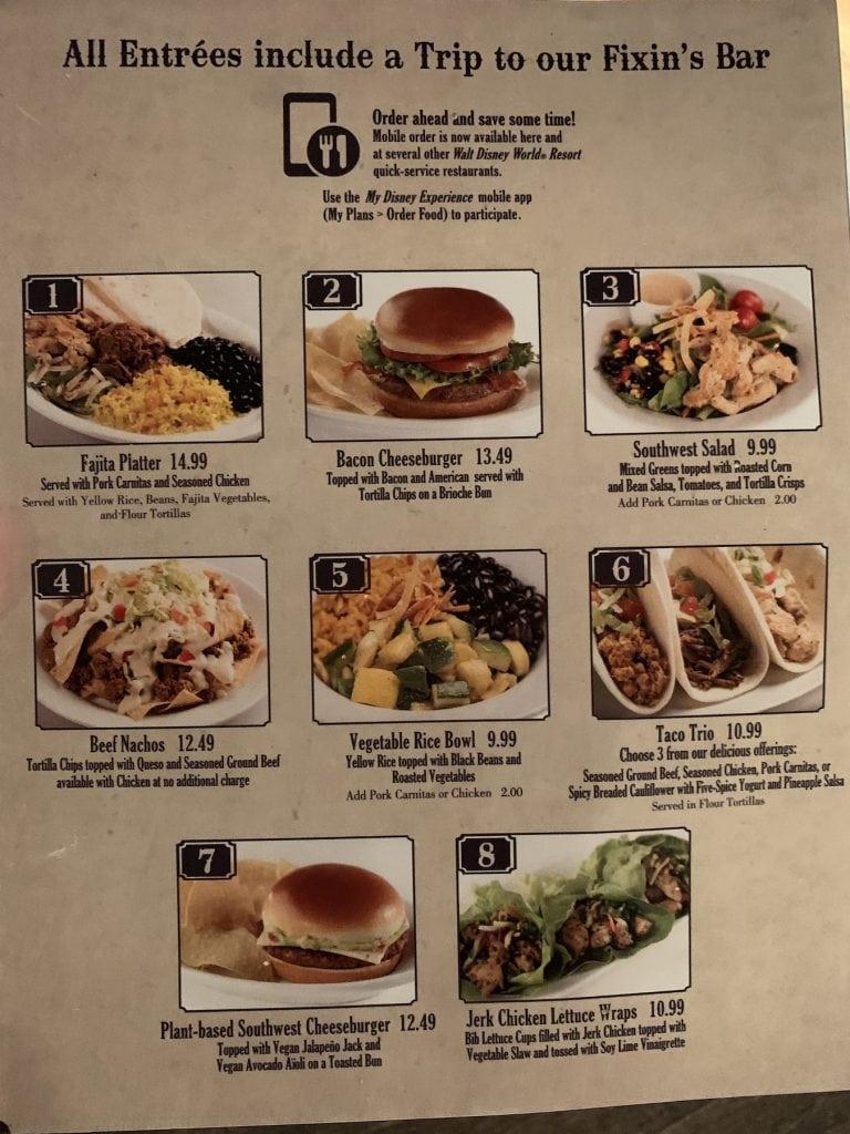 Walt Disney World Restaurant Menu Mobile Order