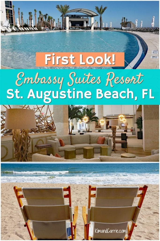 beach chairs on ocean infinity pool and coastal lobby embassy suites st. augustine beach Florida review