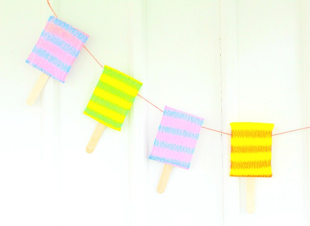 popsicle banner made with sponges
