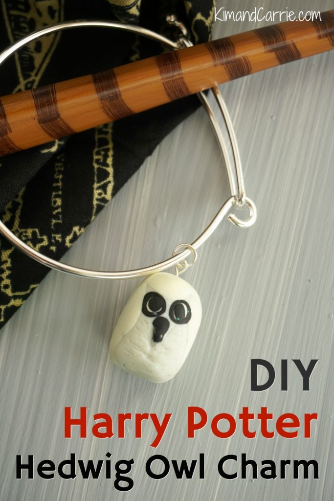 DIY Harry Potter Hedwig Owl Charm Bracelet with wizard wand