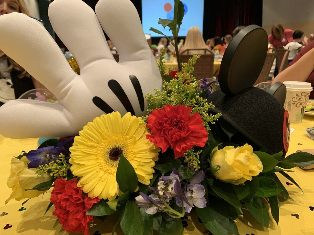 disney flower arrangement with mickey hand and hat