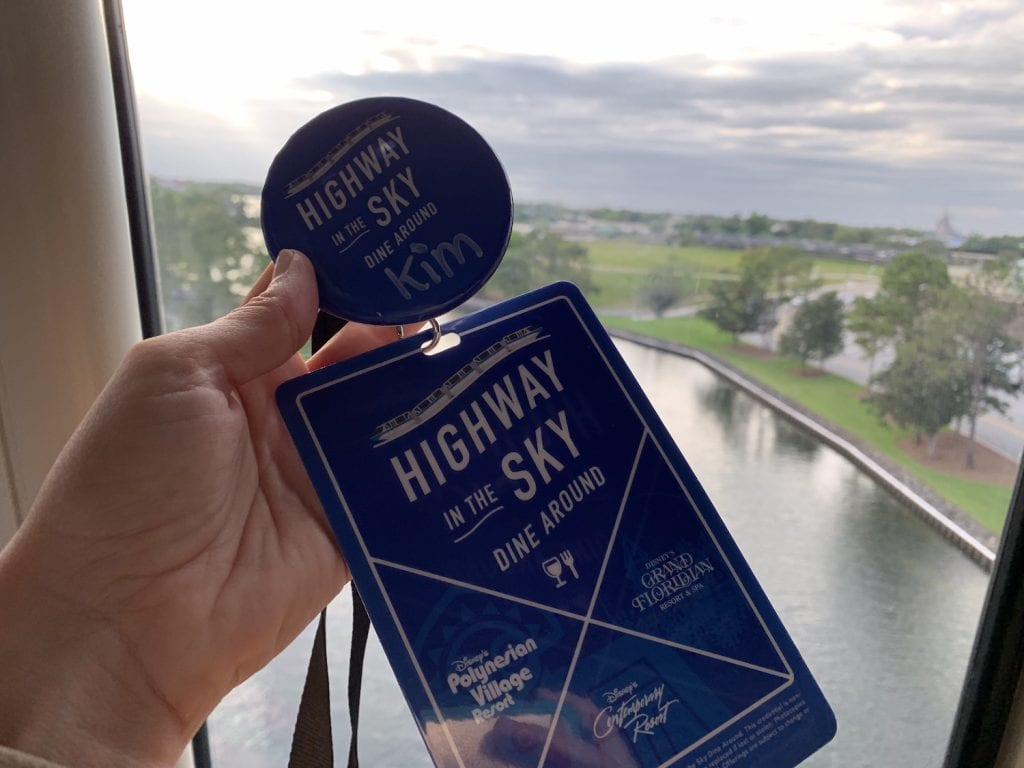 Disney World Highway in the Sky Dine Around Progressive Dinner badges