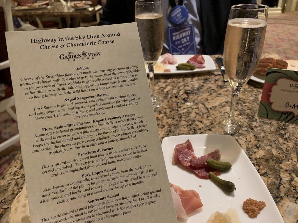 charcuterie cheese menu Disney World Highway in the Sky Dine Around Progressive Dinner