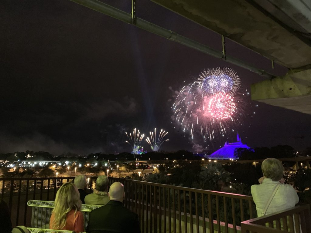 Disney World Highway in the Sky Dine Around Progressive Dinner private fireworks viewing contemporary resort