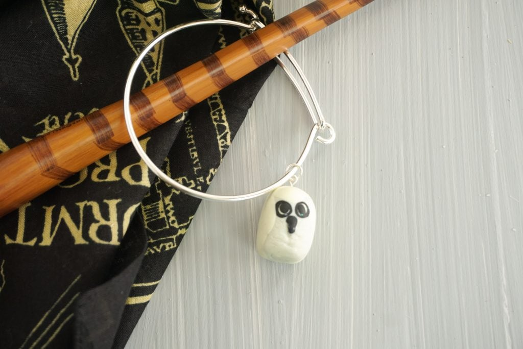 Harry Potter Hedwig Owl Charm on wizard wand