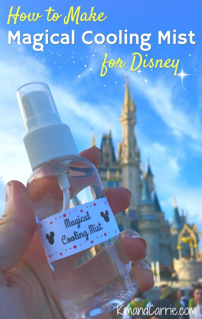 Magical Cooling Mist spray bottle in front of Cinderella Castle