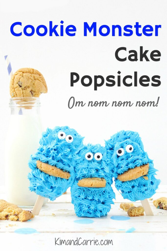 blue Cookie Monster cake pops next to bottle of milk
