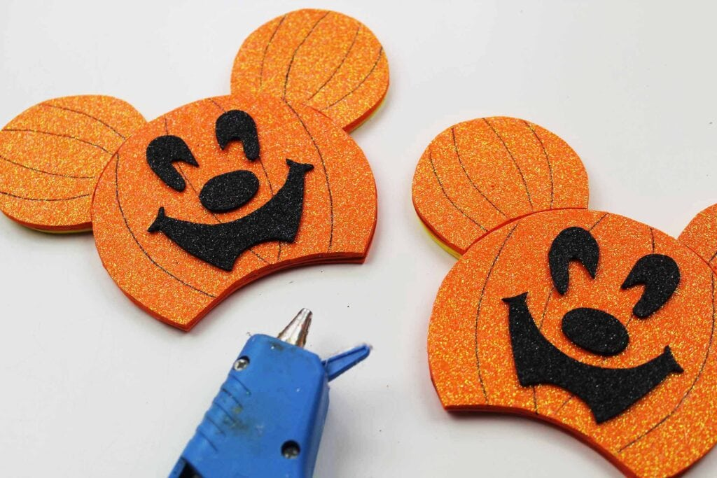 Halloween Pumpkin Mickey Mouse Ears glued together