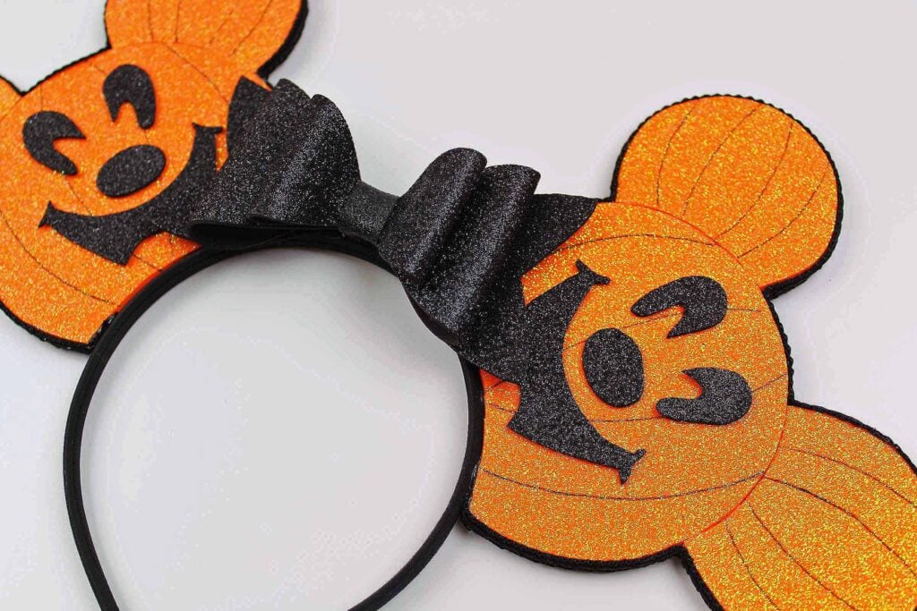 Halloween Mickey Mouse Ears that look like Pumpkins for Mickey's Not So Scary Halloween Party