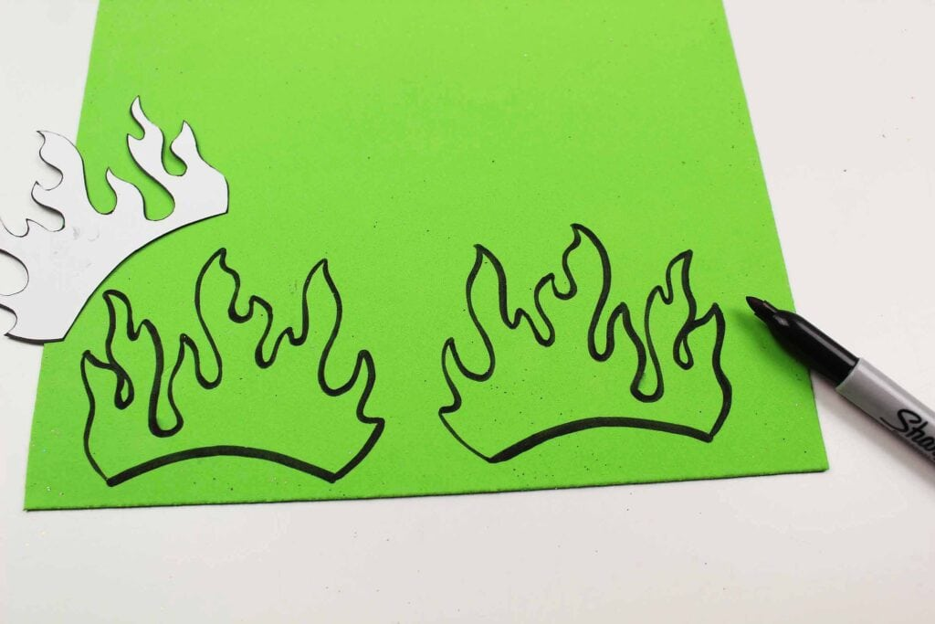 green foam with fire template drawn on it