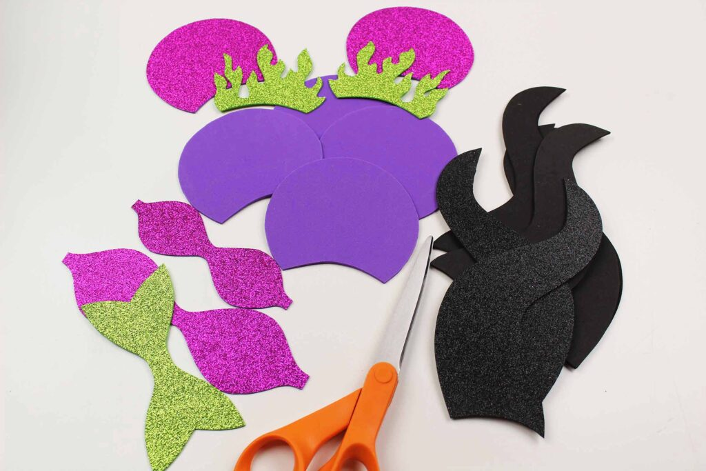 foam pieces cut out for maleficent mouse ears headband
