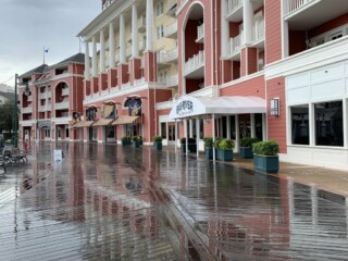 Disney's boardwalk resort in rain of hurricane