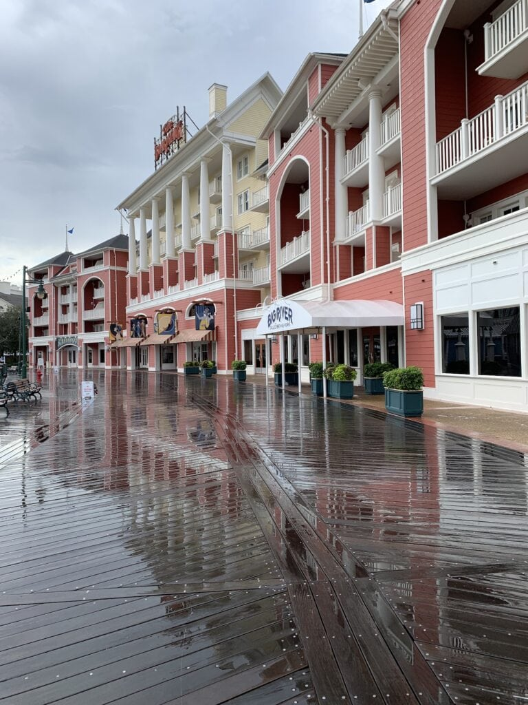 Disney's boardwalk resort in rain of hurricane