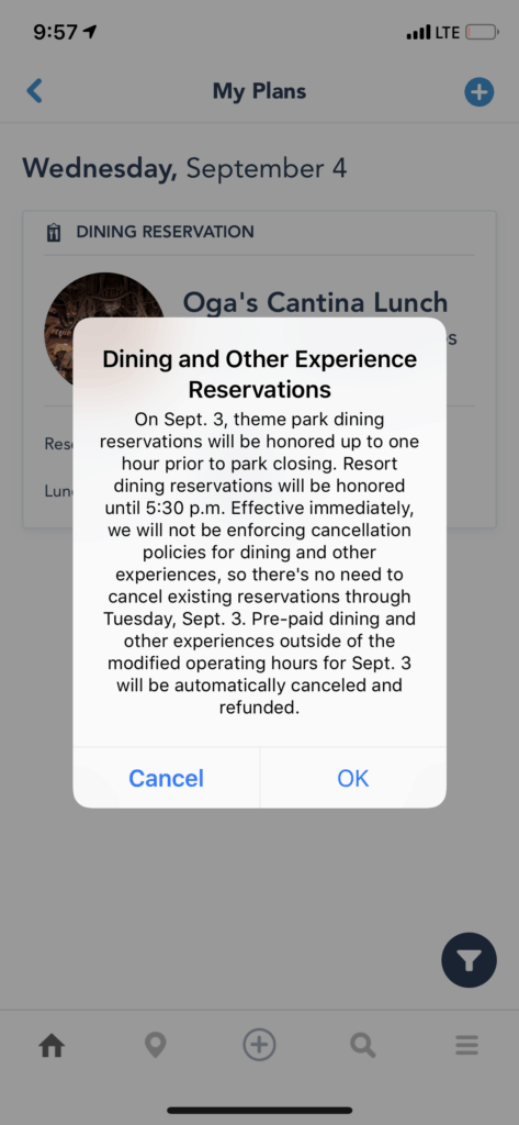 Disney World restaurant reservation cancellation policy hurricane