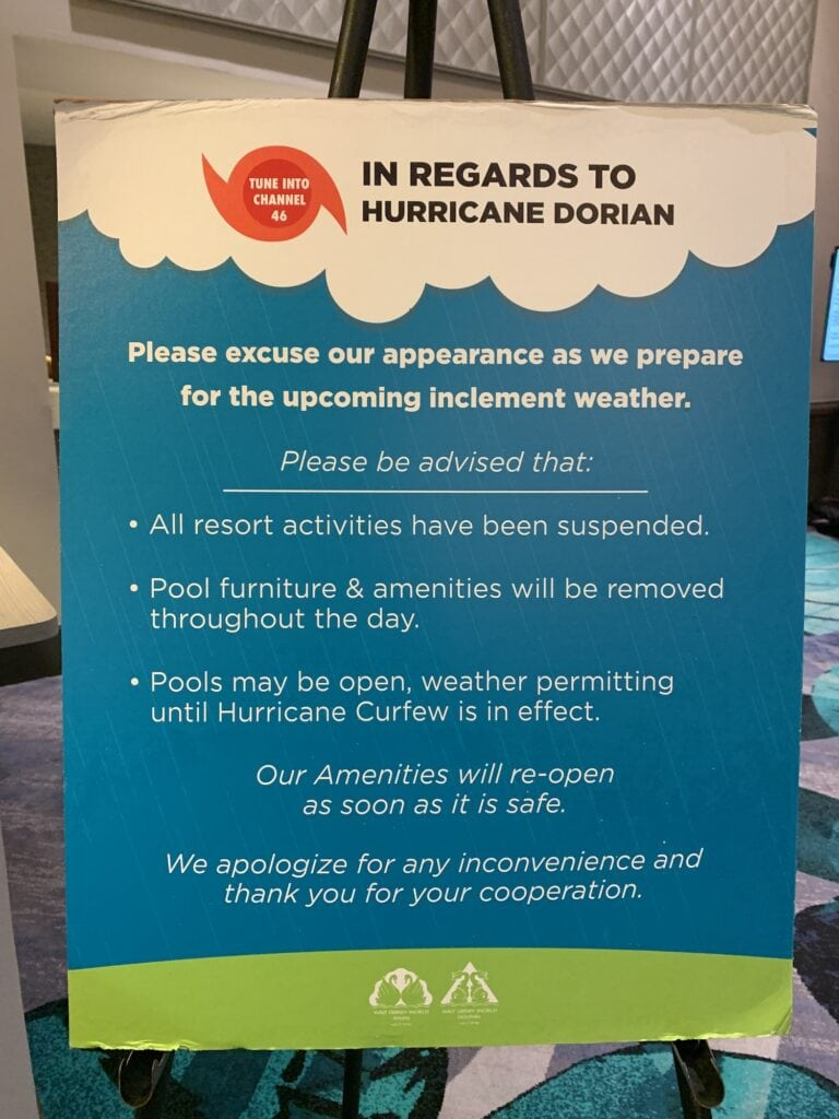 hurricane information for Walt Disney World resort hotel