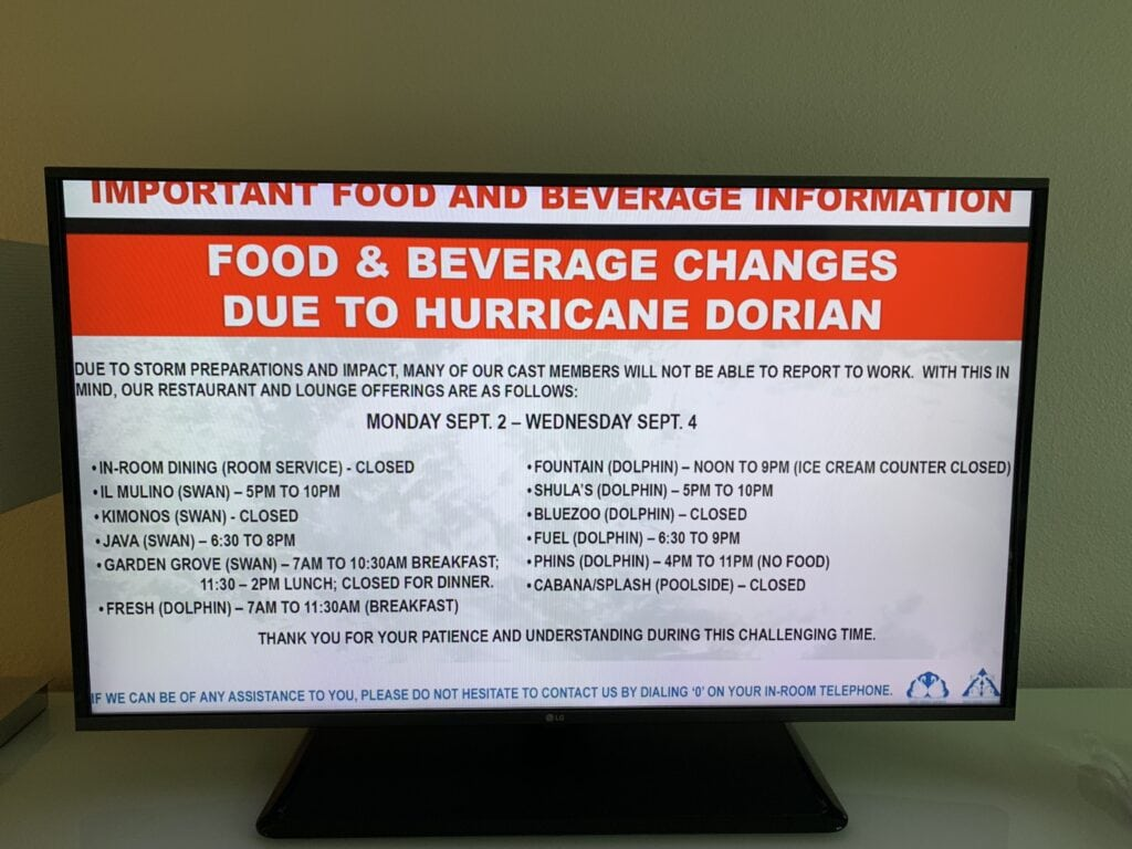 restaurants open during hurricane at Disney World