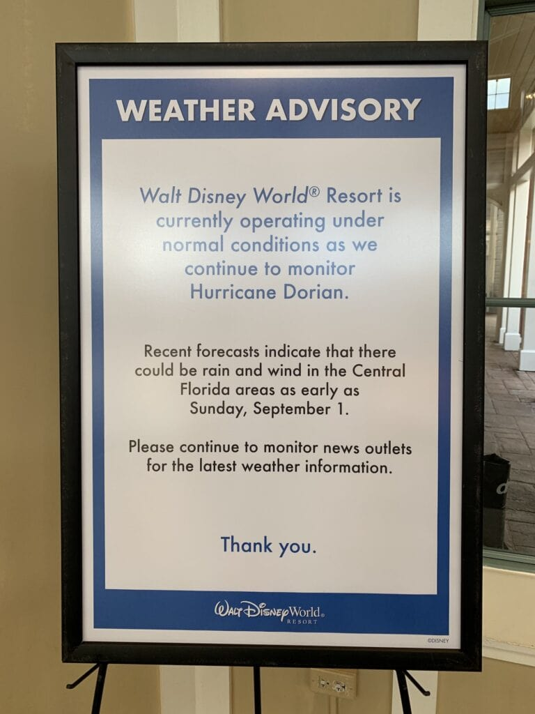 hurricane weather advisory for Disney World hotel
