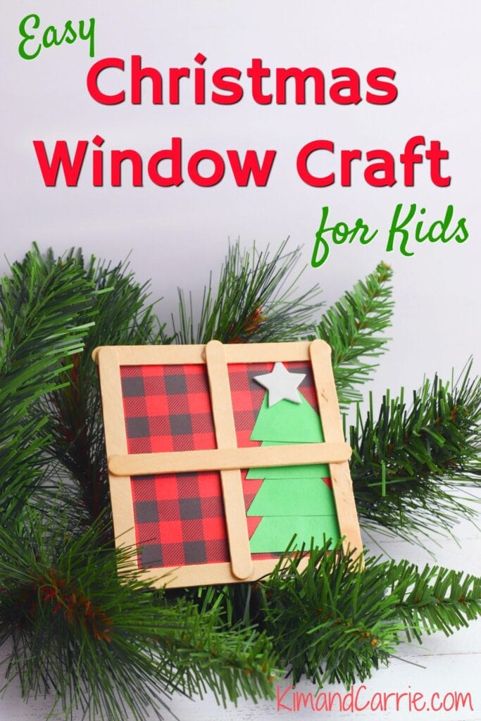 Christmas window craft on pine branches