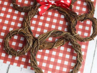 rustic Mickey Mouse wreaths made out of grapevine against red checkered background