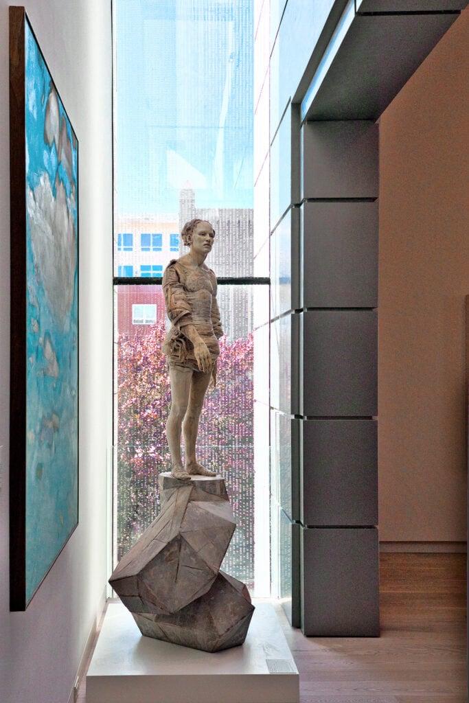 sculpture in glass window
