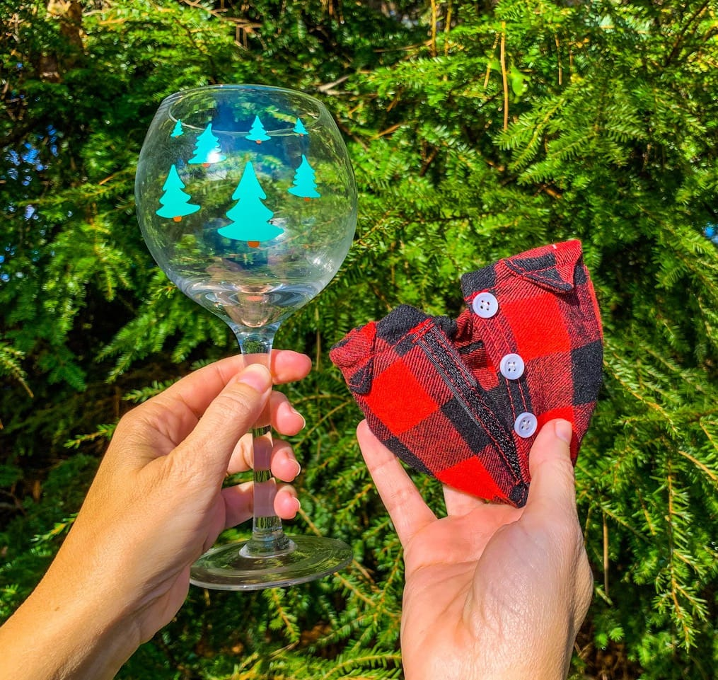 woman holding wine glass with removable plaid shirt gag gift
