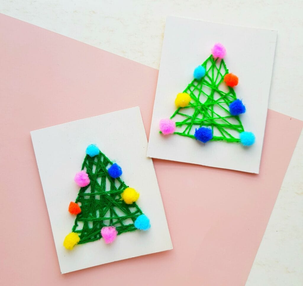 Christmas tree string art craft on white card