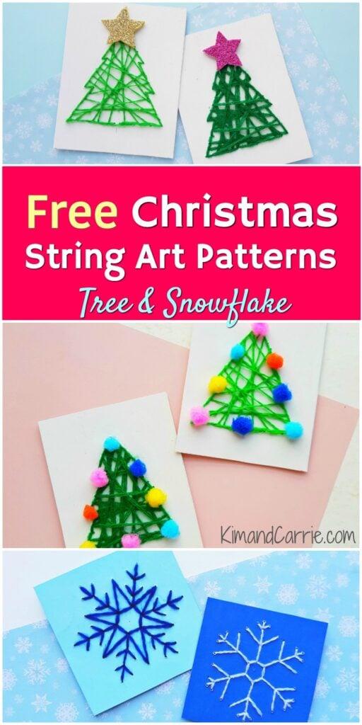 free string art patterns snowflake Christmas tree