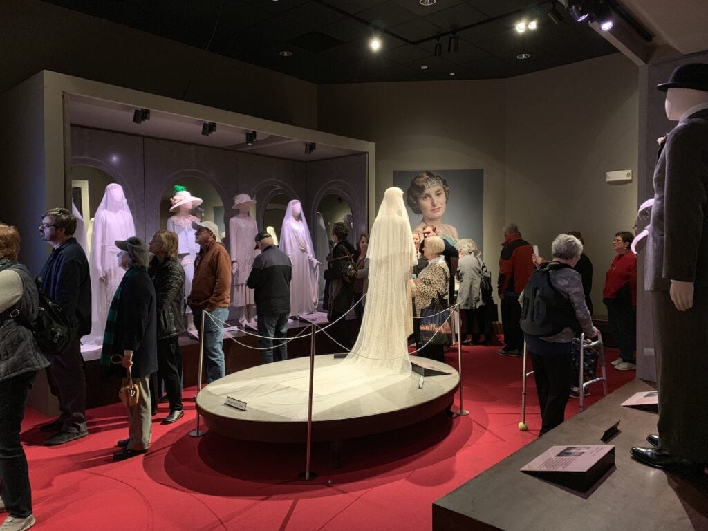 white wedding dress on display at Biltmore Downton abbey