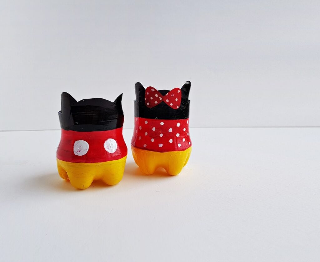 Mickey Mouse pots made from plastic bottles