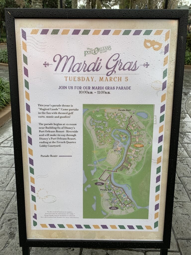 Disney mardi gras parade map route