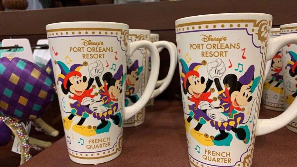 Disney mardi gras mickey and Minnie mouse mugs