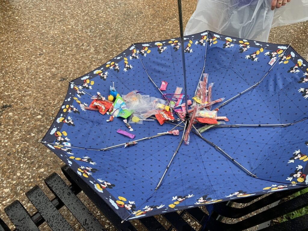 upside down umbrella with candy