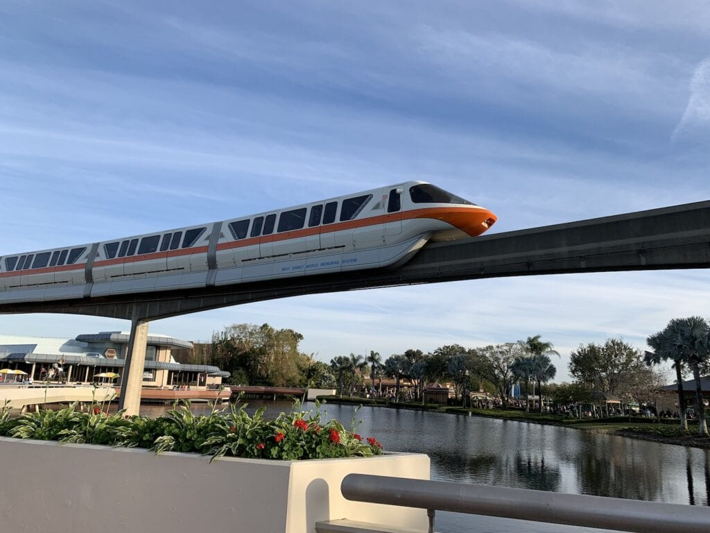 monorail in epcot at Disney World