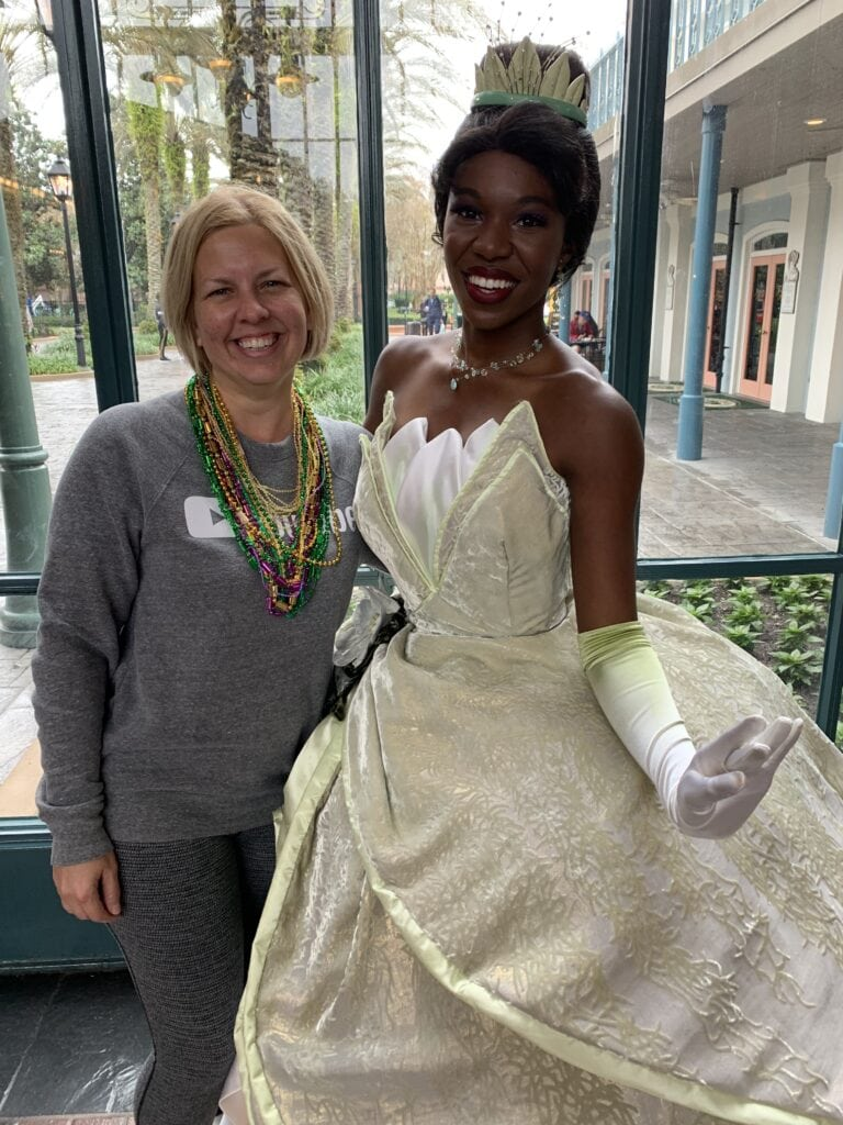 Kim with princess Tiana at Disney's port Orleans French quarter resort