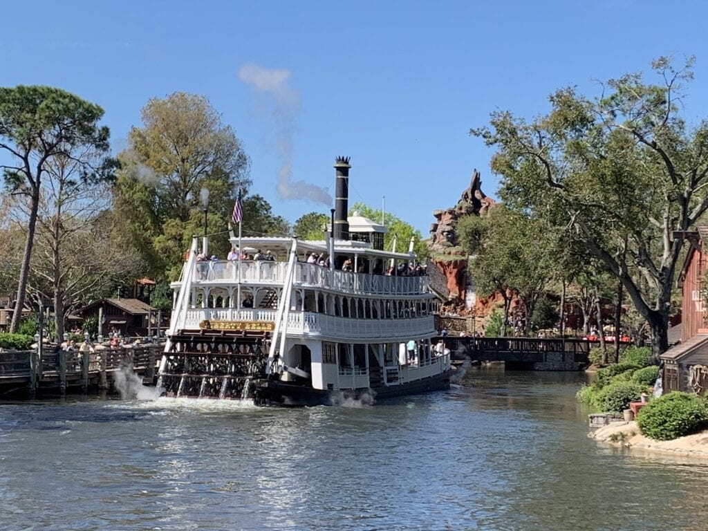 paddlewheel boat on river Magic Kingdom theme park